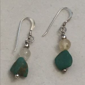 Turquoise and quartz silver dangle earrings